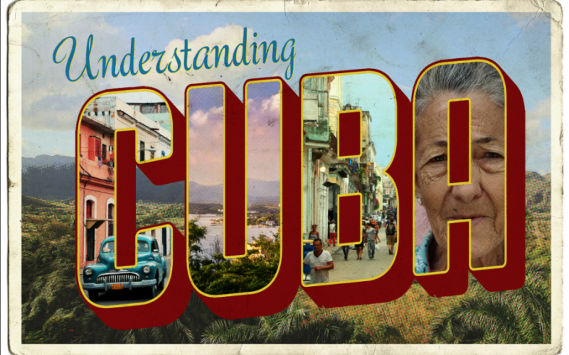 "Understanding Cuba promotional postcard.  Each letter in the word ""Cuba"" is filled with an image.  The ""C"" is a teal VW Bug, the ""U"" is a lake and jungle landscare, the ""B"" is a busy city stree, and the ""A"" is a women's face."