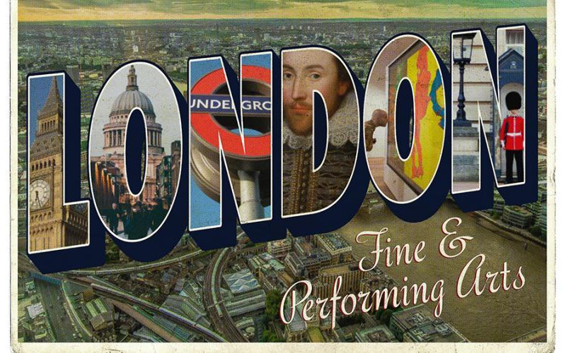 "A postcard that says ""London Fine & Performing Arts.""  The letters in the word ""LONDON"" are filled with various images ranging from iconic London sites, fine art, and a portrait of Shakespeare."