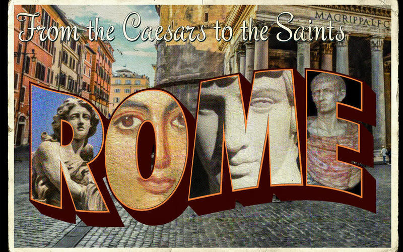 "A postcard that says ""From the Caesars to the Saints Rome"".  The word ""ROME"" is placed over a roman city street.  Each letter in the word ""ROME"" is filled with a famous Roman statue or work of art."
