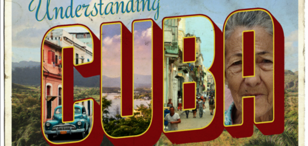 """Understanding Cuba promotional postcard.  Each letter in the word """"Cuba"""" is filled with an image.  The """"C"""" is a teal VW Bug, the """"U"""" is a lake and jungle landscare, the """"B"""" is a busy city stree, and the """"A"""" is a women's face."""